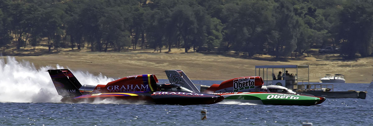 Jimmy Shane in the 5 Graham Trucking and Steve David in the 1 Oh Boy! Oberto during testing for BigWake Weekend.