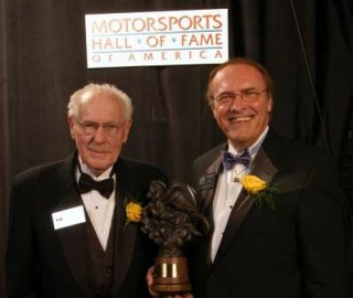 Danny Foster (left) with Steve Garey in 2005 at Danny's induction into the Motorsports Hall of Fame