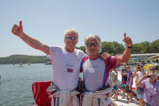 Record breakers Sheikh Hassan bin Jabor Al-Thani and Steve Curtis at the Lake of the Ozarks